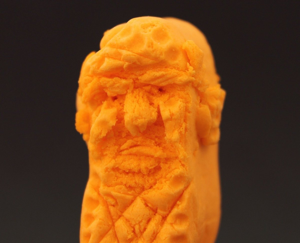 Donald Trump carved out of a Cheeto